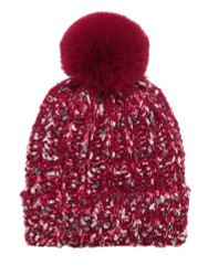 Chunky Knit Multicolor Knitted Beanie Hat Faux Fur Lined Burgundy