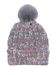 Chunky Knit Multicolor Knitted Beanie Hat Faux Fur Lined Grey