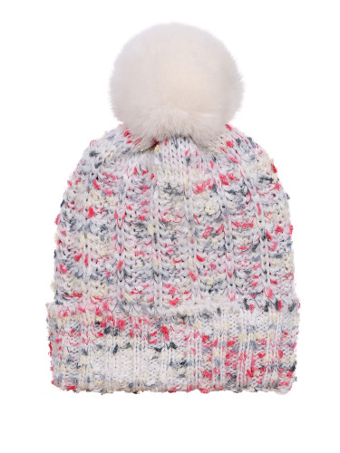 Chunky Knit Multicolor Knitted Beanie Hat Faux Fur Lined Ivory