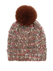 Chunky Knit Multicolor Knitted Beanie Hat Faux Fur Lined Khaki