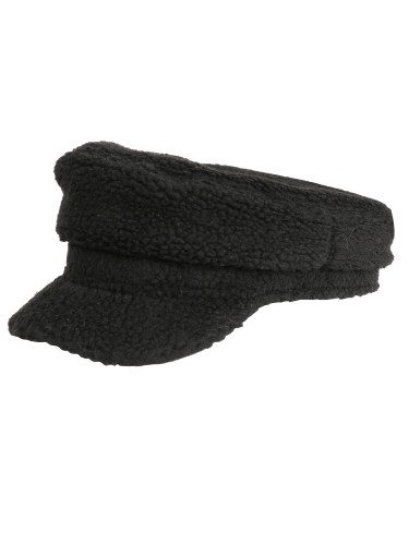 Cozy Sherpa Baker Boy Cap Newsboy Hat for Women Black
