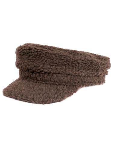 Cozy Sherpa Baker Boy Cap Newsboy Hat for Women Khaki
