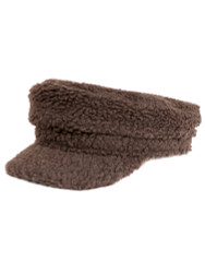 Cozy Sherpa Baker Boy Cap Newsboy Hat for Women Khaki