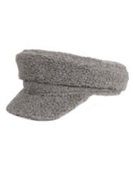 Cozy Sherpa Baker Boy Cap Newsboy Hat for Women Grey