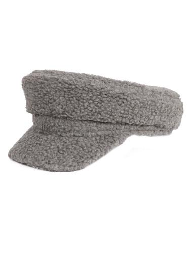 Cozy Sherpa Baker Boy Cap Newsboy Hat for Women Grey