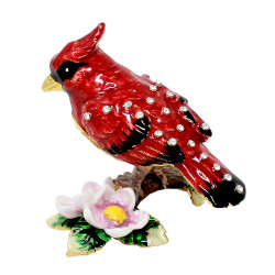 Cardinal on Branch Trinket Box Bejeweled