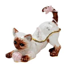 Playful Siamese Cat Trinket Box Bejeweled