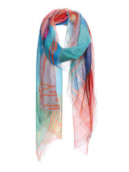 Rainbow Color Checkered Print Soft Scarf Blue