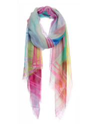 Rainbow Color Checkered Print Soft Scarf Mustard