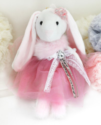 Princess Bunny Plush Toy Cuddly Keychain Bag Charm Oversize Fuchsia