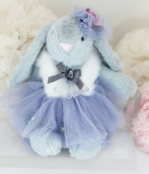Easter Bunny Plush Toy Cuddly Keychain Bag Charm Blue Grey