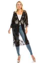 Elegant Embroidered Lace Kimono Open Front Short Sleeves Black