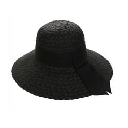 Straw Hat Wide Hatband and Tail Black