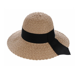 Straw Hat Wide Hatband and Tail Khaki