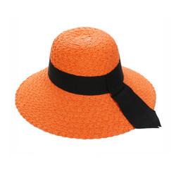 Straw Hat Wide Hatband and Tail Orange
