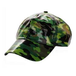 Soft PVC Transparent Baseball Cap Packable Rain Hat Green Camouflage