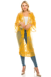 Long Crochet Cardigan Lace Flowers and Leaves Tie Front Mustard