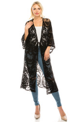 Long Boho Kimono Crochet Cardigan Lacy Tie Front Black