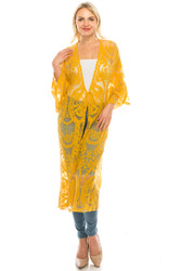 Long Boho Kimono Crochet Cardigan Lacy Tie Front Mustard