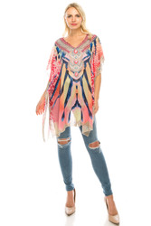 Rhinestone Detail Aztec Tunic Coverup Printed Top Pink