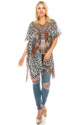 Rhinestone Detail Mixed Leopard Print Tunic Coverup Top Black White