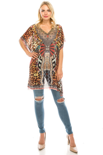 Rhinestone Detail Mixed Leopard Print Tunic Coverup Top Brown