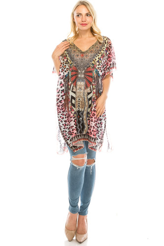 Rhinestone Detail Mixed Leopard Print Tunic Coverup Top Pink