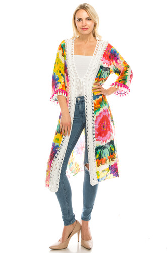 Long Floral Cardigan Kimono Crochet Tassel Trimmed