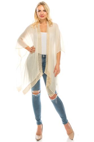 Crochet Trimmed Open Front Kimono Flowy Coverup Beige