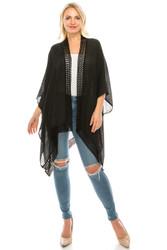 Crochet Trimmed Open Front Kimono Flowy Coverup Black
