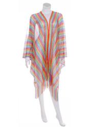 Zigzag Print Fishnet Coverup Cardigan Tassel Rainbow