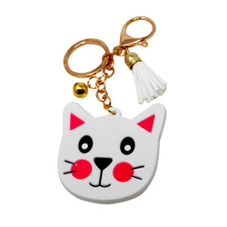 kitty face keychain purse charm white pink