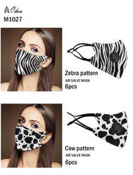 12 Piece Fashion Masks Zebra and Cow Black and White