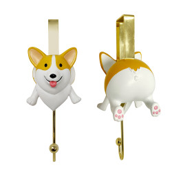 Face & Butt Cute Corgi Over the Door Hook Gold