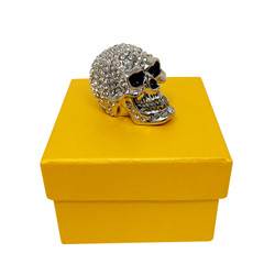 Bejeweled Skull Trinket Box Silver Toned