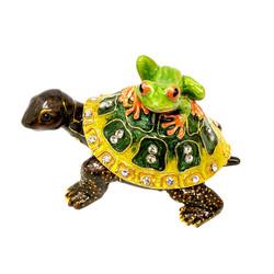 Piggyback Turtle Tree Frog Trinket Box Bejeweled