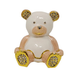 Baby Pink Teddy Bear Trinket Box Gold Bejeweled