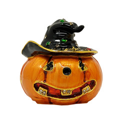 Pumpkin With Witch Hat Trinket Box Smiling Jack-O-Lantern Halloween