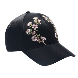 Black Embroidered Floral Baseball Cap Hat Metallic