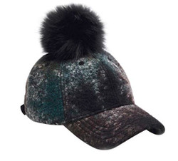Wool Blend Ombre Poms Away Baseball Cap Hat