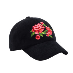 Black Velvet Embroidered Red Flowers Baseball Cap Hat