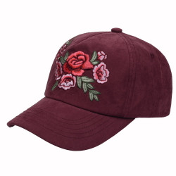 Fuchsia Sueded Embroidered Flowers Baseball Cap Hat