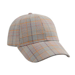 Checkered Plaid Baseball Cap Hat Unisex Mustard