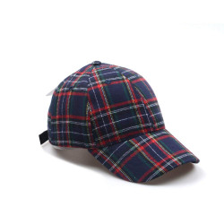 Plaid Baseball Cap Hat Unisex Navy