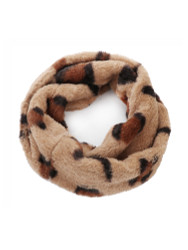 Faux Fur Single Circle Wide Infinity Scarf Neck Warmer Leopard