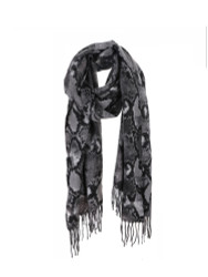 Ultra Soft Snake Skin Print Scarf Cashmere Feel Wrap Grey