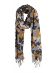 Ultra Soft Camouflage Print Scarf Cashmere Feel Wrap Mustard
