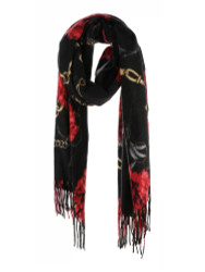 Ultra Soft Elegant Flowers Scarf Cashmere Feel Black
