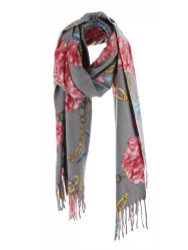 Ultra Soft Elegant Flowers Scarf Cashmere Feel Grey Pink