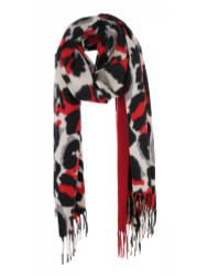 Ultra Soft Elegant Flowers Scarf Cashmere Feel Red Leopard